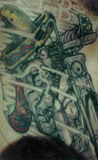 Mexican bandit on bike tattoo