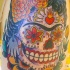 Frida sugar skull tattoo in colour